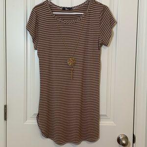 PINC Brown & White Striped Tunic Dress size XL